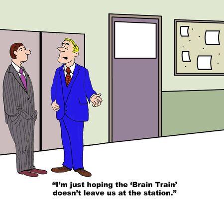 tren caricatura: Brain Train Foto de archivo