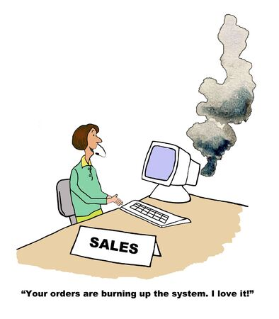 achiever: Sales Orders Burning Up the System Stock Photo