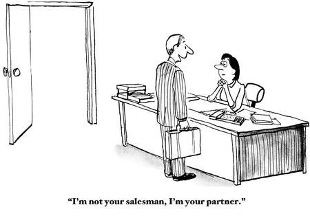 teamwork cartoon: Partners, Not Salesman