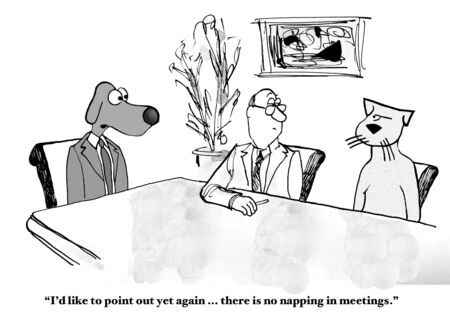 cartoons: No Napping in Meetings Stock Photo