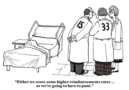 doctor cartoon: Insurance Reimbursement Rates Stock Photo