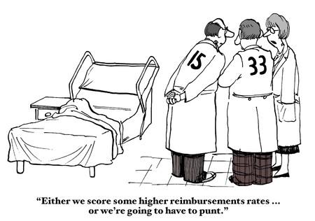 medico caricatura: Seguro de reembolso tarifas Foto de archivo