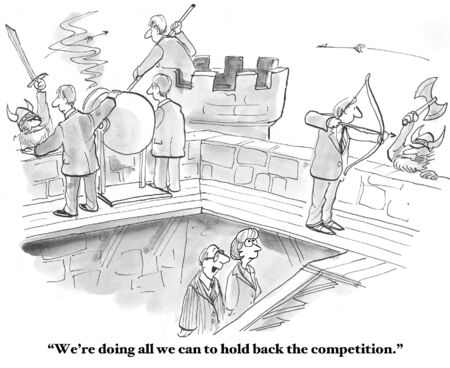 marketing strategy: Hold Off the Competition Stock Photo