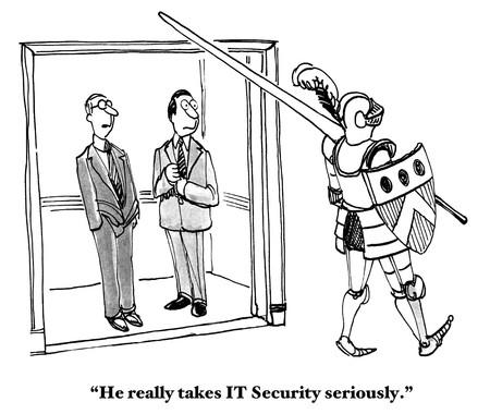 computadora caricatura: Seguridad de TI Foto de archivo