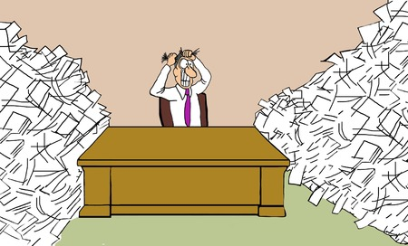 stressed out: Overloaded with Paperwork Stock Photo