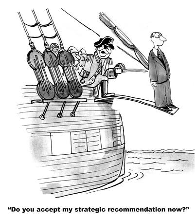 pirate cartoon: Conflict Disagreement over Strategic Recommendation