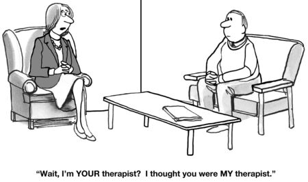 Confusion on Who Is the Therapist Stock Photo
