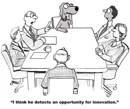 perro caricatura: Oportunidad de innovaci�n Foto de archivo