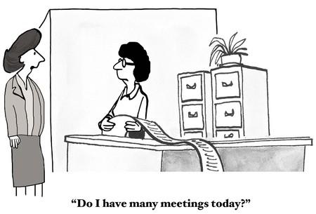 작업 일에있는 시간보다 더 많은 회의 스톡 콘텐츠