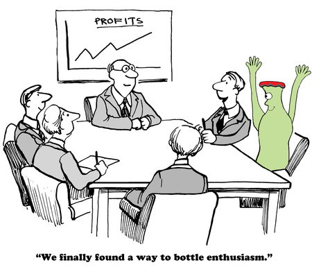 enthusiasm: Business cartoon about enthusiasm and success.