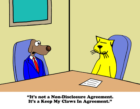humor: Business cartoon about a conflict resolution agreement. Stock Photo