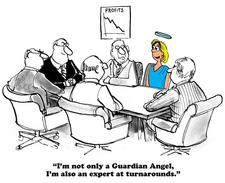 cfo: Business cartoon about a turnaround.