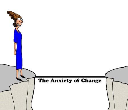 불안을 일으키는 변화에 대한 비즈니스 만화입니다. 스톡 콘텐츠