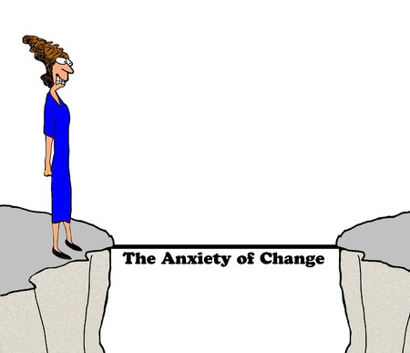 taker: Business cartoon about change causing anxiety. Stock Photo