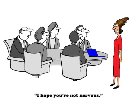 Business cartoon about being very nervous giving a presentation. Stock Photo
