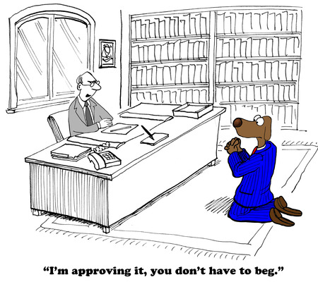man begging: Business cartoon about gaining approval. Stock Photo