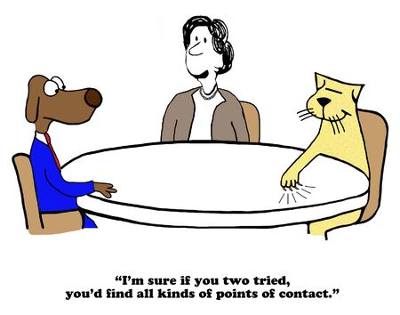 ability to speak: Business cartoon about conflict and finding common ground.