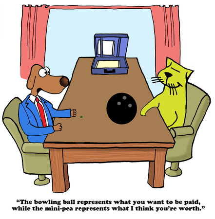 salaries: Business cartoon about two different perceptions of compensation level.
