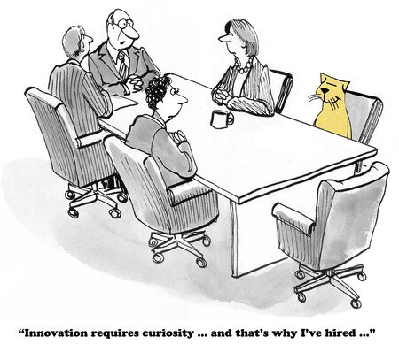 Business cartoon about curiosity and innovation.