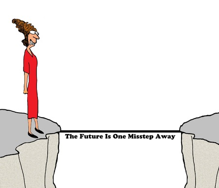 future business: Business cartoon about fear of the future. Stock Photo