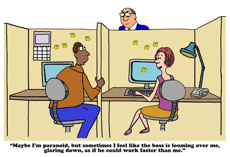 over the shoulder: Business cartoon about a looming boss. Stock Photo