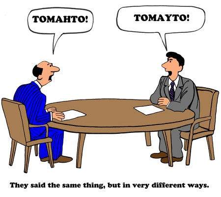 Business cartoon about talking past each other. Banco de Imagens