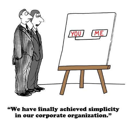 simplify: Business cartoon about a simple organizational structure. Stock Photo