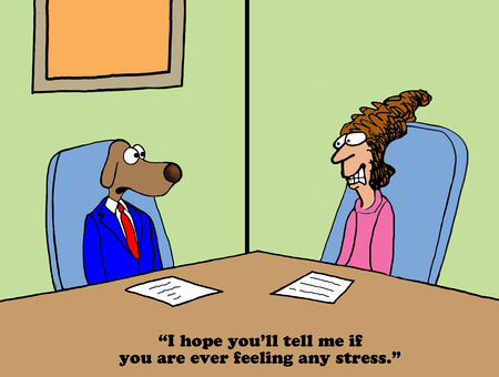 worried executive: Business cartoon about being stressed around the boss.