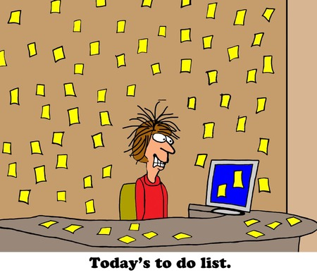 too much: Business cartoon about a very, very long to do list. Stock Photo