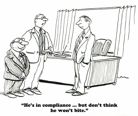 compliant: Business cartoon about being complaint with government regulations. Stock Photo