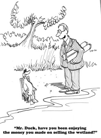 conflict: Cartoon about environmental protection. Stock Photo