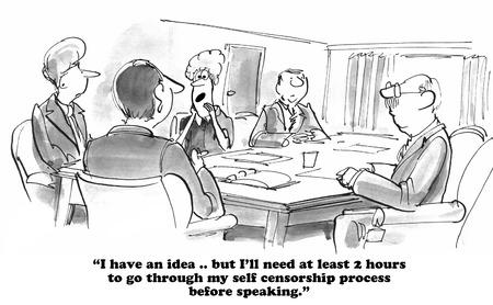 자기 검열에 대한 비즈니스 만화.