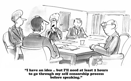 censorship: Business cartoon about self censorship.