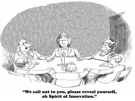 革新の機会を増やすことについてのビジネス漫画。