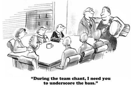 Business cartoon about team spirit. Stock Photo