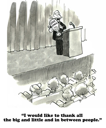 inappropriate: Business cartoon about a faux pas in a thank you speech. Stock Photo