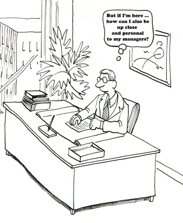 managing: Business cartoon about managing by walking around.
