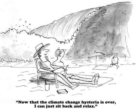 Cartoon about climate change. Stock Photo