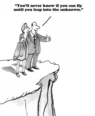 Business cartoon about attempting new learning.