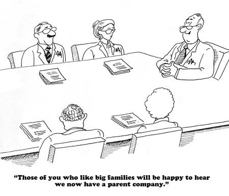 Kreskówka o przejęciu firmy. Zdjęcie Seryjne