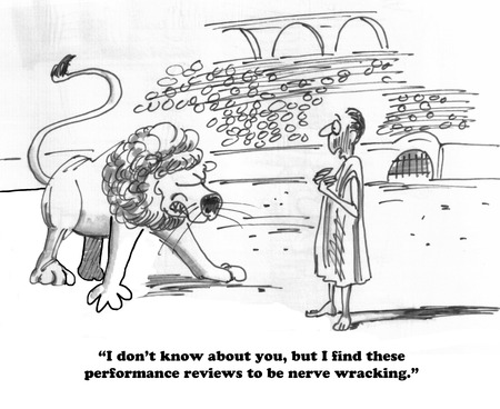 worried executive: Business cartoon about a negative performance review experience. Stock Photo