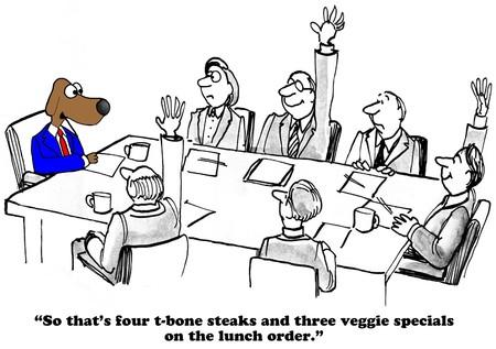 팀 점심 식사 옵션에 대 한 비즈니스 만화입니다.