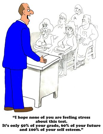 negatively: Education cartoon about test taking stress. Stock Photo