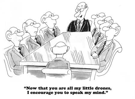 echo: Business cartoon about a groupthink mindset.