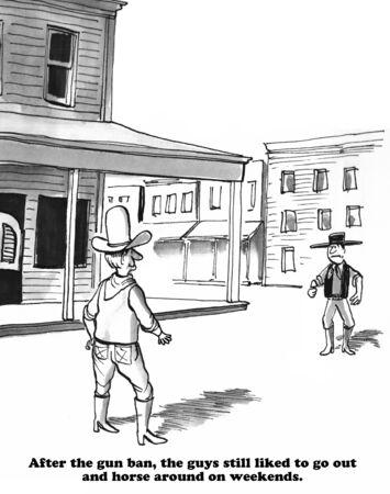 A non-gun world cartoon