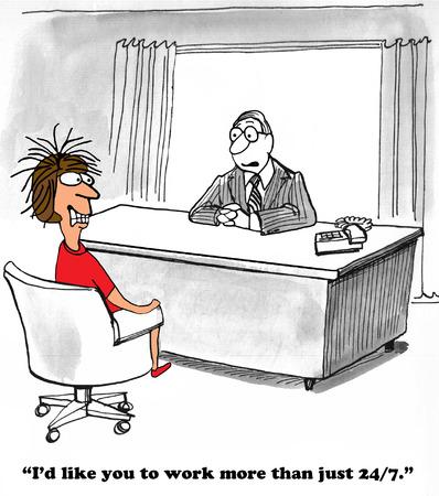 Nonstop work business cartoon Standard-Bild