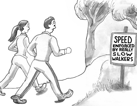 staying in shape: Walking for Exercise Cartoon Stock Photo