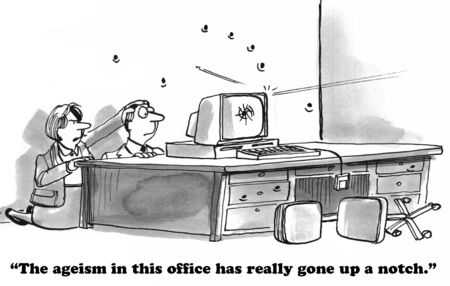 discriminate: Business cartoon about ageism.
