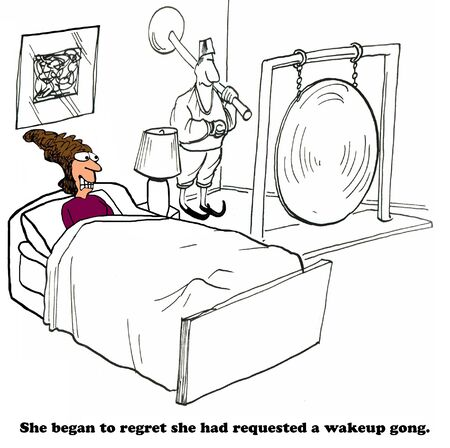 Business cartoon about a wakeup call. Stock Photo
