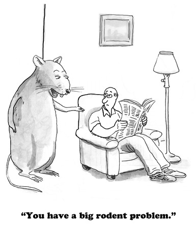 dirty house: Cartoon about a large rodent. Stock Photo